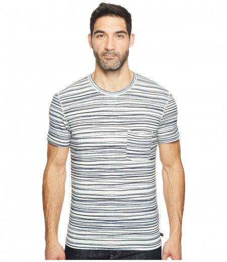 7 For All Mankind Short Sleeve Abstract Stripe Tee