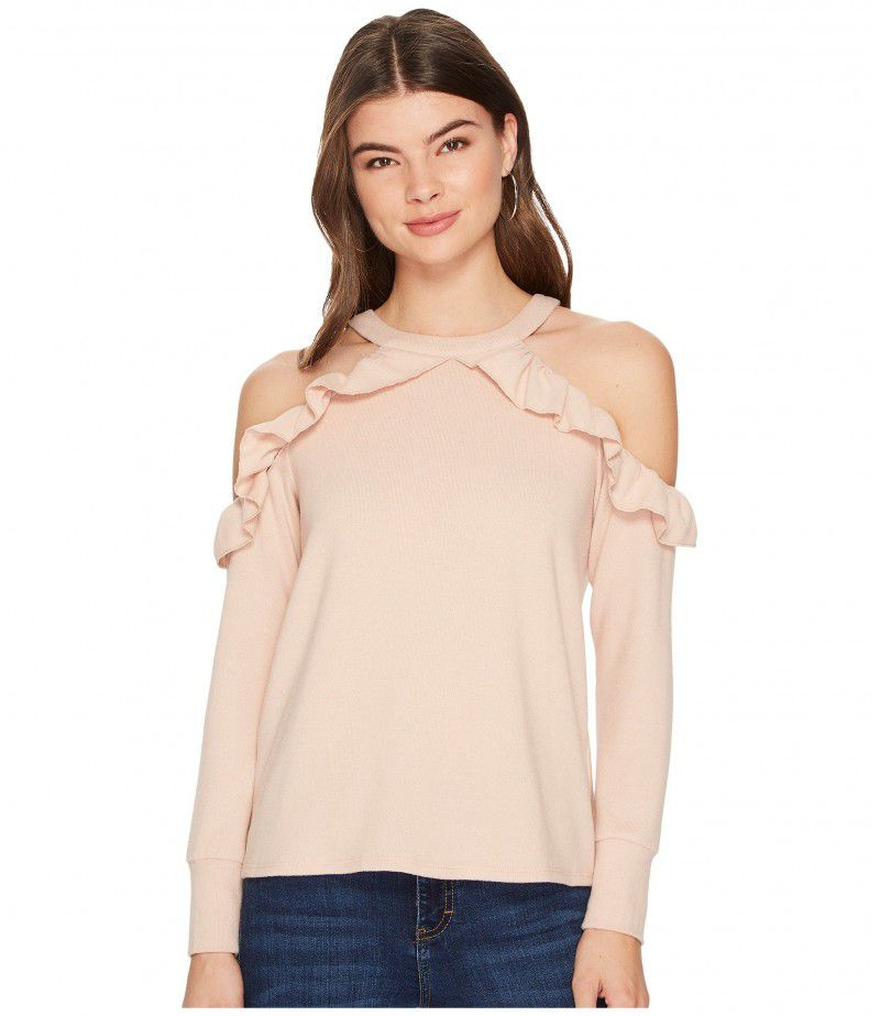 1.STATE Cold Shoulder Ruffle Edge Top