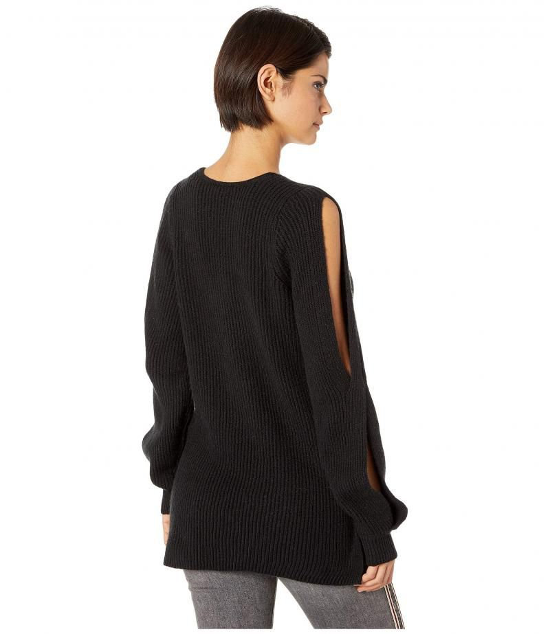 1.STATE Cold Shoulder V-Neck Sweater w/ Twist Sleeves