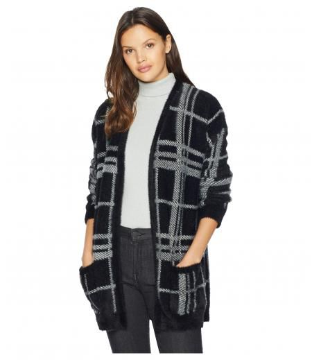 1.STATE Cozy Plaid Long Cardigan
