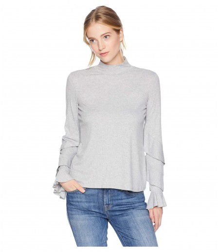 1.STATE Long Sleeve Ruffle Sleeve Rib Knit Top
