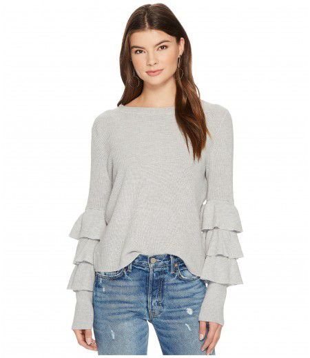1.STATE Long Sleeve Tiered Ruffle Sleeve Sweater