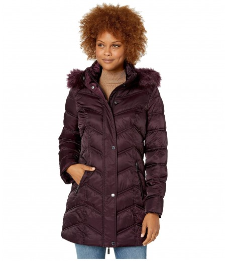 Kenneth Cole New York Chevron Quilted Puffer w/ Faux Fur Trimmed Hood