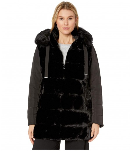 Via Spiga Mixed Media Wide Grooved Faux Fur w/ Detachable Hood