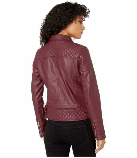 YMI Snobbish Faux Leather Jersey Lined Moto Jacket