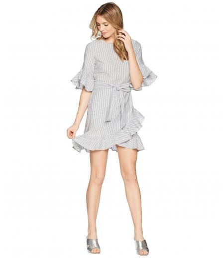 1.STATE Asymmetrical Ruffled Edge Wrap Dress