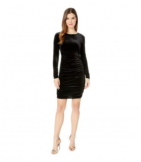 1.STATE Long Sleeve Ruched Bodycon Open Back Velvet Dress